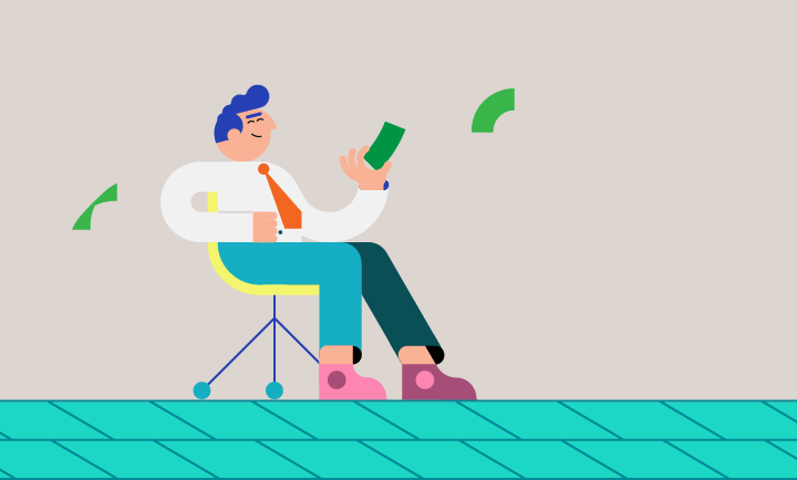 Sitting business person tossing dollar bills into the air humorous illustration